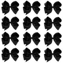 Oaoleer 6 inch Hair Bows For Girls Grosgrain Ribbon Large Boutique Bow Alligator Clips Teens Kids Pack Of 12 (Black)