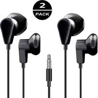 2-Pack Headphones Android Earbuds Jack Earphones Volume Control for Phone Tablet Computer Earbud Black