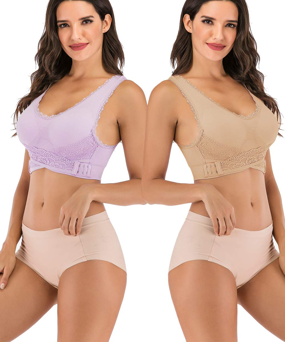 FLORATA Lace Sports Bras for Women Lace Front Cross Side Buckle and Removable Pad Tank Top Yoga Sports Bra