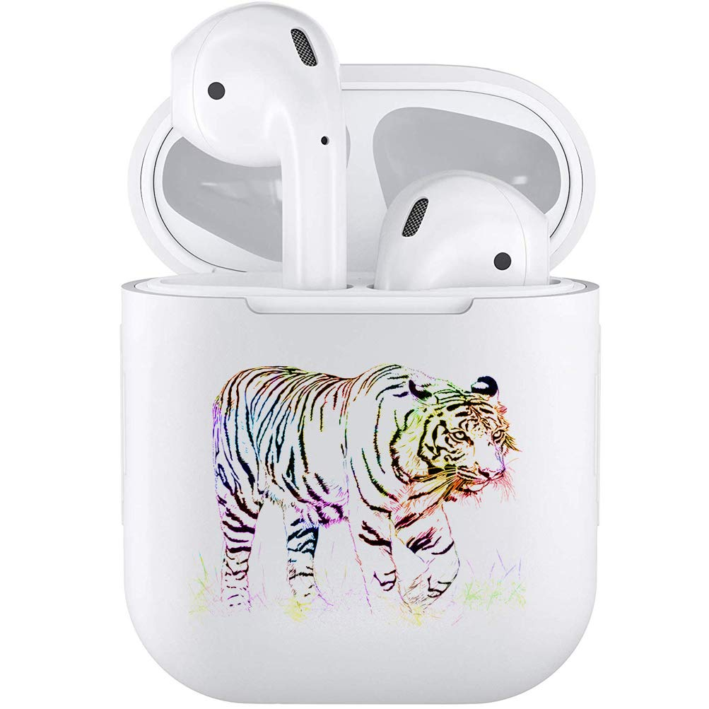 Silicone TPU Cute Accessories Holder Case Cover Skin with Keychain Compatible with Airpods Air Pods 1 2 Tiger