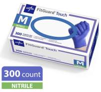 Medline FitGuard Touch Nitrile Exam Gloves, Disposable, Powder-Free, Cobalt Blue, Medium, Box of 300