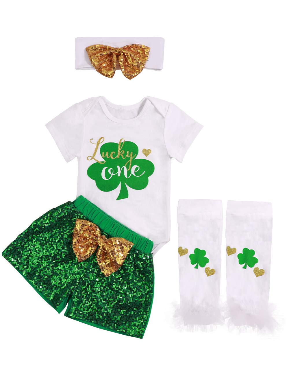 My First St.Patrick's Day Newborn Baby Girls Clothes Shamrock Rompers+ Tutu Tulle Skirt and Headband Outfits Set