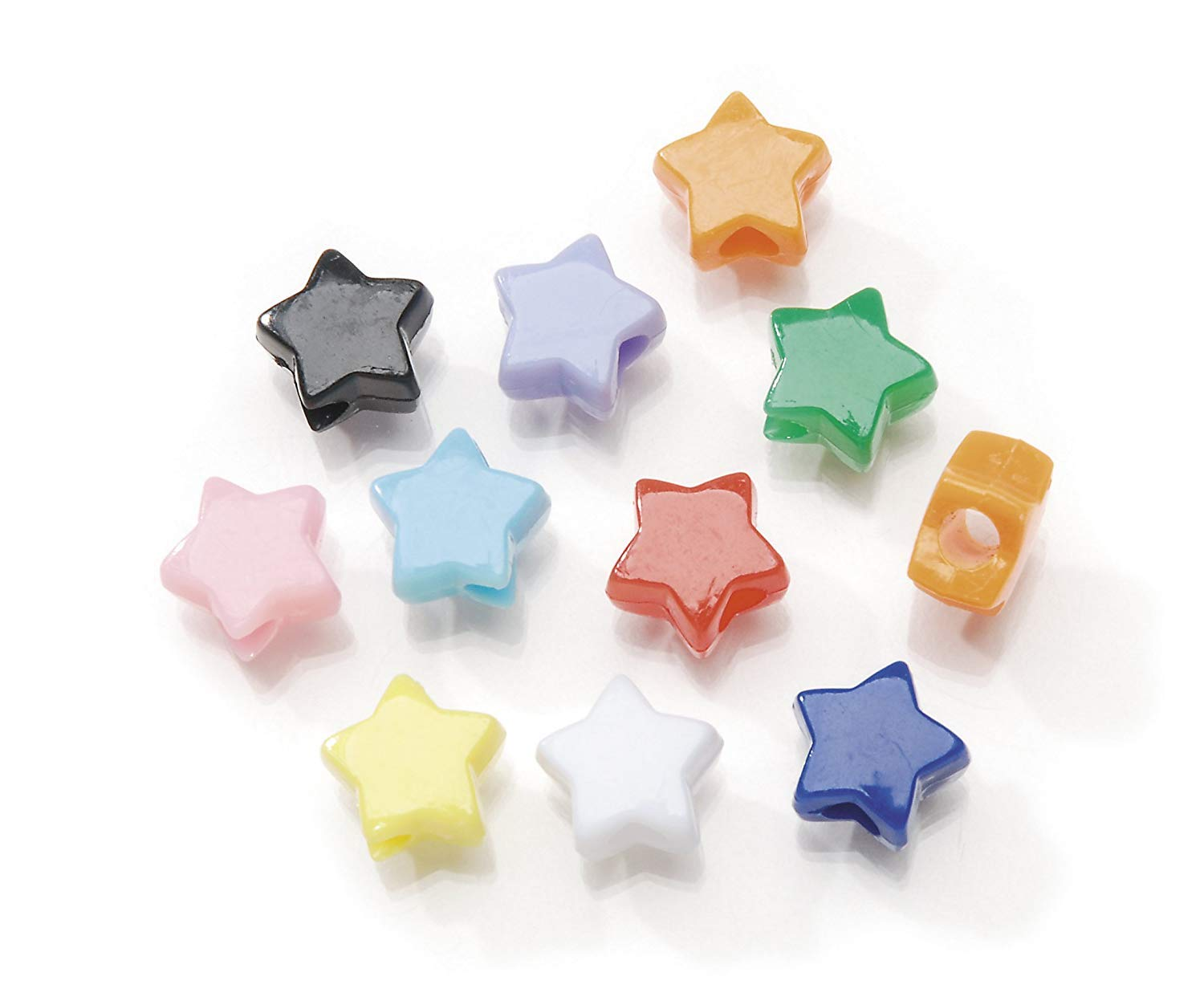 Darice, 7X Assorted Pony Craft Projects for All Ages Jewelry, Ornaments, Key Chains, Hair Star Plastic Bead with Center Hole, 7x12mm Diameter, 1 lb. Bag, Opaque, Multicolored