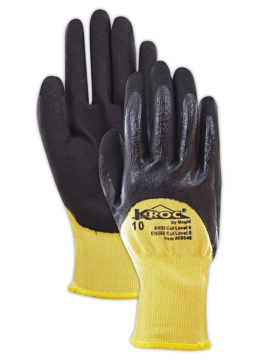 Magid Glove & Safety K8646-7 K-ROC Double-Dip Nitrile Coated Work Gloves Cut Level 4, 9, Yellow , 7 (Pack of 12)