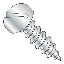 "Aluminum Sheet Metal Screw, Plain Finish, Pan Head, Slotted Drive, Type A, #8-15 Thread Size, 3/4"" Length (Pack of 10)"