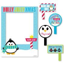 Big Dot of Happiness Holly Jolly Penguin - Holiday and Christmas Party Selfie Photo Booth Picture Frame and Props - Printed on Sturdy Material