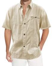 Beotyshow Mens Cuban Camp Guayabera Shirts Button Up Lapel Collar Cotton Linen Loose Fit Tops