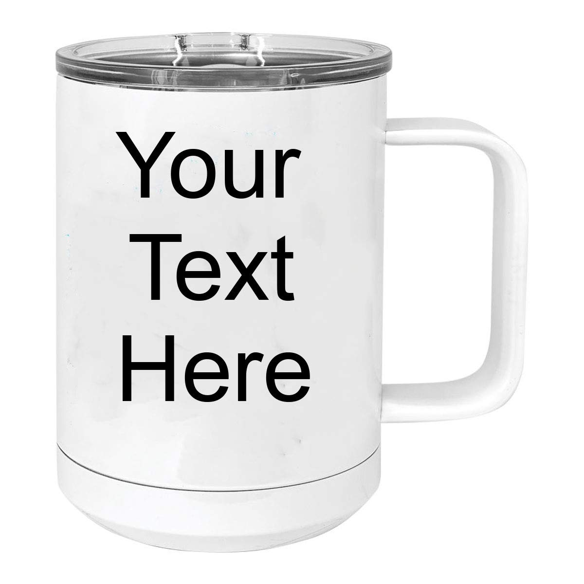 Personalized Add Your Custom Text 15 Oz Sublimatable White Vacuum Insulated Coffee Mug with Handle Customizable