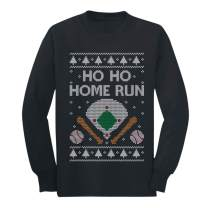 Baseball Fans Ugly Christmas Ho Ho Home Run Youth Kids Long Sleeve T-Shirt