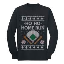 Baseball Fans Ugly Christmas Ho Ho Home Run Youth Kids Long Sleeve T-Shirt