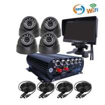 JOINLGO 4 Channel G-Sensor GPS WiFi 1080P AHD HDD Hard Disk Mobile Vehicle Car DVR MDVR Video Recorder Kit Real-time Remote View on PC Phone with 4 2.0MP Dome in-car Car Cameras 7 inches VGA Monitor