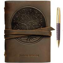 """Leather Journal Tree of Life Notebook Embossed Handmade Travel Diary, A5 Vintage Writing Bound for Men For Women Genuine Antique Rustic Leather 6""""x8"""" Engraved Paper Perfect for Notes Sketchbook + Pen"""
