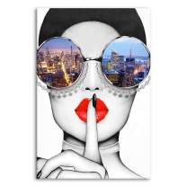 Modern Fashion Women Art Print Contemporary Wall Art Red Lip Canvas Prints Stylish Feminine Framed Wall Art Painting Cityscape Piture Ready to Hang for Home Decoration (Multicolor, 24x36inx1)