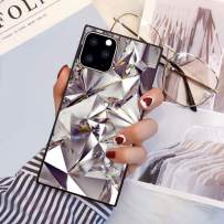 PERRKLD Case Compatible With iPhone 11 Pro 2019 5.8 Inch Square Edge Case Heavy Duty Protection Shock Absorption Slim Soft TPU Cover Geometric Bling Diamond Pattern for iPhone 11 Pro 5.8 Inch