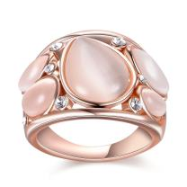 Mytys Fashion Rose Gold Band Rings Waterdrop Cat's Eye Stone Crystal Wide Cocktail Rings for Women