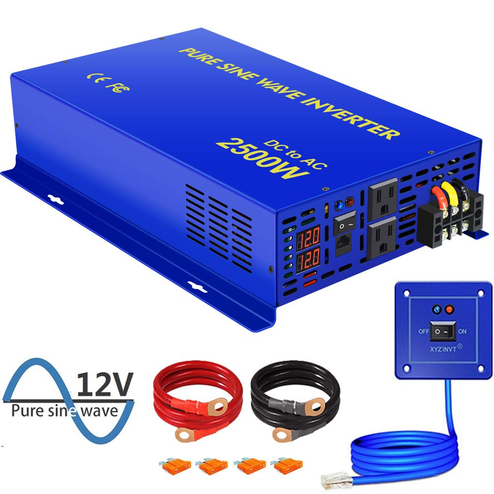XYZ INVT 2500W Pure Sine Wave Inverter - 12V DC to AC 120V with 15ft Remote Controller, Surge Power 5000w, Power Converter for Solar System, Off Grid. (2500W 12V/Remote)