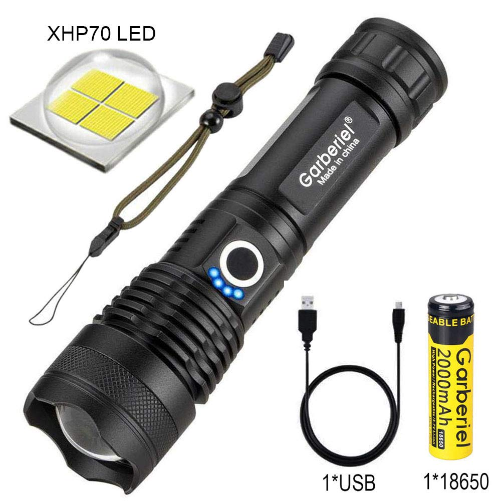 LED XHP70 Flashlight with Battery 5000 High Lumens Super Bright Waterproof Rechargeable Zoomable Torch Light for Camping, Hiking, Outdoor Activities
