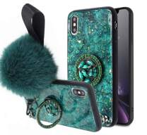 Lozeguyc iPhone 8 Plus Bling Marble Kickstand Case,iPhone 7 Plus Luxury Soft Hard Back Case Shiny Glass Shockproof Ring Stand Cover for iPhone 8 Plus 5.5 Inch-Green