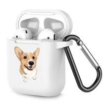 Airpods Case Personalized White TPU Soft Rubber Accessories Full Protective Shockproof Case for AirPods 2 & 1 Corgi Dog