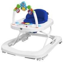 BABY JOY Baby Walker, 2 in 1 Foldable Activity Walk Behind Walker with Adjustable Height & Speed, Friction Control Functions, High Back Padded Seat, Music, Detachable Penguin Play Bar (Blue)