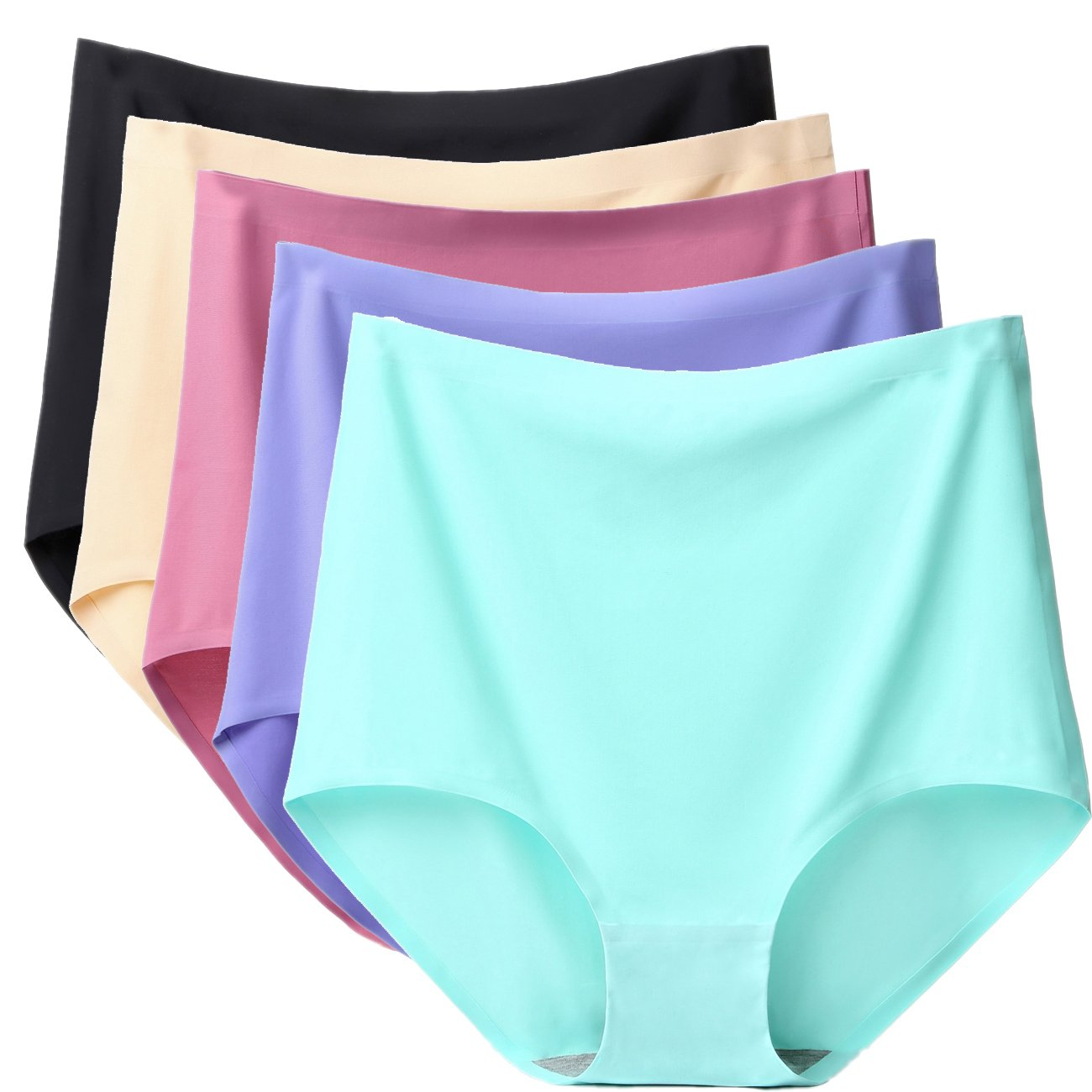 ARONAS Women's Seamless Underwear 3/5 Pack Mid High Waist Plus Size Comfortable Briefs Hipster Panties