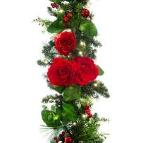 [9 Foot Artificial Christmas Garland] - Red Peony and Berry Collection - Floral Decoration - Pre Lit with 100 Warm Clear Colored LED Mini Lights - Includes Remote Controlled Battery Pack with Timer