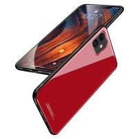 BeautyWill Case for iPhone 11 Tempered Glass Case Slim Fit Premium Hybrid Cases Soft TPU Bumper Shockproof Cover with Lanyard Hole Red