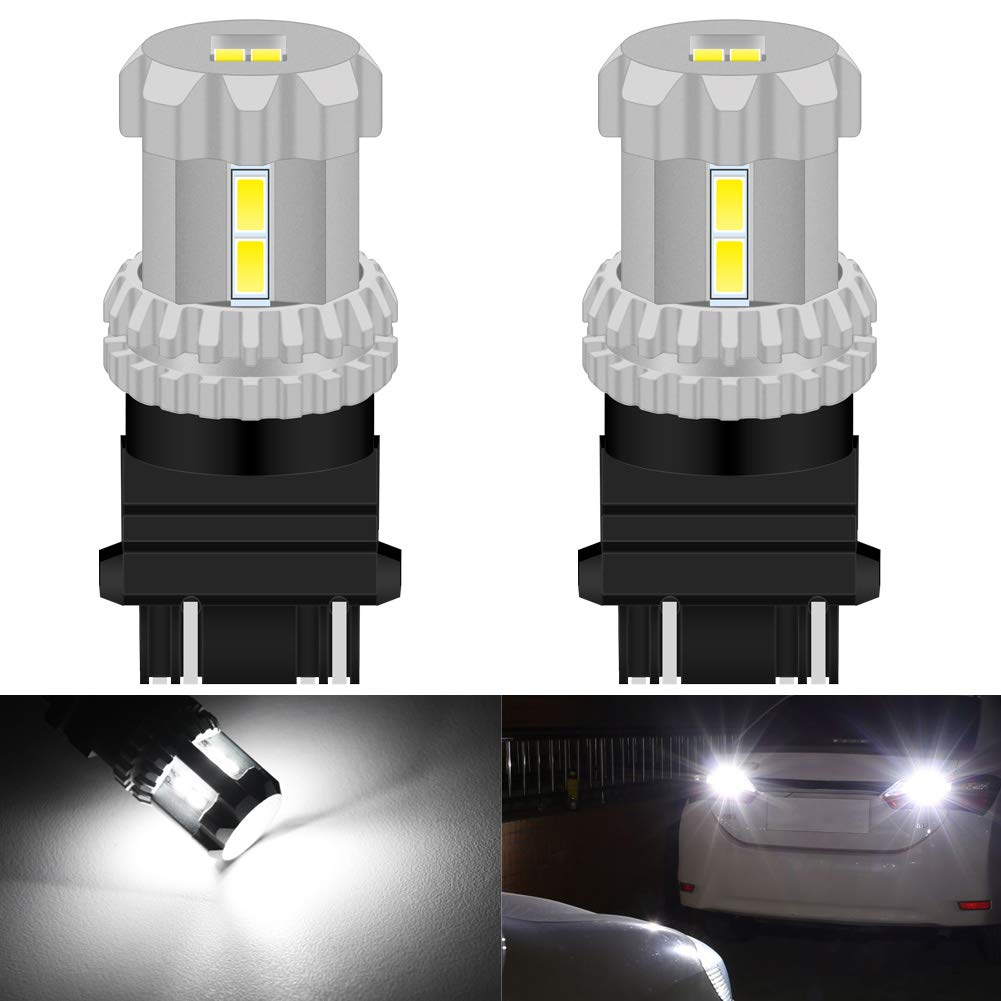 KATUR 3157 3156 3056 3057 4157 T25 LED Bulbs High Power 12pcs 3020SMD Chipsets Extremely Bright 2800 Lumens Used for Backup-Light, Tail Light, Brake Light or DRL, Xenon White (Pack of 2)