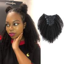 Sassina Real Thick Virgin Brazilian Afro Curly Clip In Hair Extensions 4C 4A Style Natural Black Color For Black Women 120 Grams 7 Pieces Double Wefts With 17 Clips AC 14 Inch