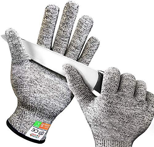 Schwer Cut Resistant Gloves Food Grade Level 5 Protection Safety Work Gloves for Kitchen, Cutting, Garden and Mandolin Slicing (Medium)