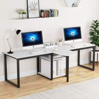 Tribesigns 94.5 inch Two Person Desk, Extra Long Modern Computer Desk with Storage Shelves, Double Workstation Office Desk Study Writing Desk for Home Office (White)