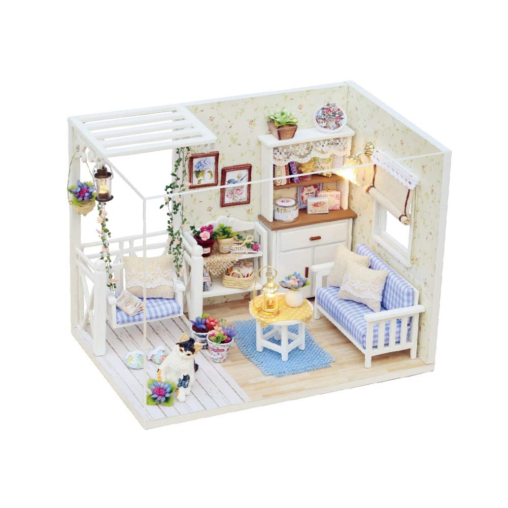 Yinuoday Dollhouse Miniature Kit with Furniture, DIY Wooden Dollhouse with LED DIY Mini Doll House Plus Dust Proof and Music Movement DIY House Kit for Adults and Teens