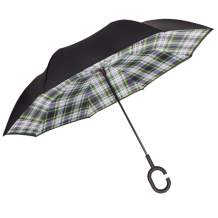 MasterCanopy Inverted Umbrella,Double Layer Reverse Windproof Teflon Repellent Umbrella for Car and Outdoor Use, UPF 50+ Big Stick Umbrella with C-Shaped Handle and Carrying Bag, Green Plaid