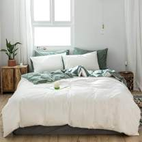 AMZTOP 【Newest】 Solid Color White Duvet Cover King Reversible Quilt Cover White and Green Contrast Color Duvet Cover for Adult Kids Simple Duvet Cover King Breathable 3 Pcs with Pillowcases