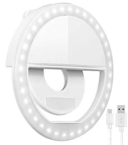 Selfie Ring Light, Oternal Selfie Light Rechargeable Portable Clip-on Selfie Fill Ring Light for iPhone Android Smart Phone Photography, Camera Video, Girl Makes up (White A)