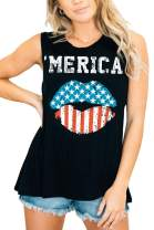 For G and PL July 4th Women's American Flag Printed Tank Top