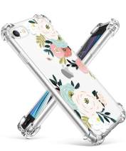 """GVIEWIN Clear Flower iPhone SE 2020 Case/iPhone 8 Case/iPhone 7 Case, Soft TPU Silicone Ultra-Thin Slim Fit Transparent Pink Flowers Flexible Cover for 4.7"""" iPhone SE2/7/8 (Abundant Blossom/White)"""