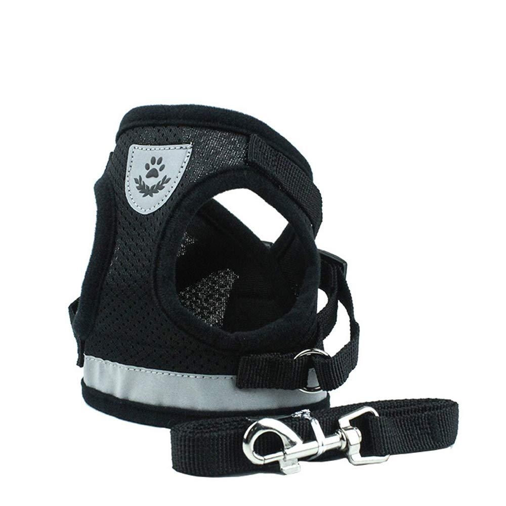BBDOGO Soft Mesh Puppy Vest Harness Adjustable Pet Lead Chest Walking Leash for Dog Cat CW057