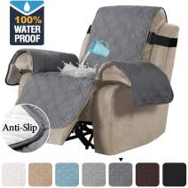 H.VERSAILTEX 100% Waterproof Quilted Recliner Chair Cover Recliner Cover Recliner Slipcover for Living Room, Secure with Elastic Strap and Non Slip Puppy Paw Silicone Backing (Standard, Grey)