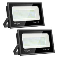 Olafus 2 Pack 100W LED Flood Light Outdoor, 11000lm Outside Floodlights, IP66 Waterproof Exterior Security Lights, 5000K Daylight White Super Bright Lighting for Playground Yard Stadium Lawn Ball Park