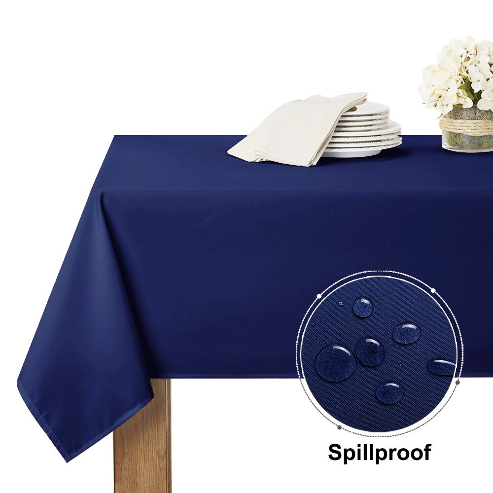RYB HOME Outdoor Tablecloth Rectangular Table Linens Spillproof Water Resistant Tabletop Decor for Kitchen/Dining/Brithday Party/Baby Shower, 60 inch by 102 inch, Navy Blue