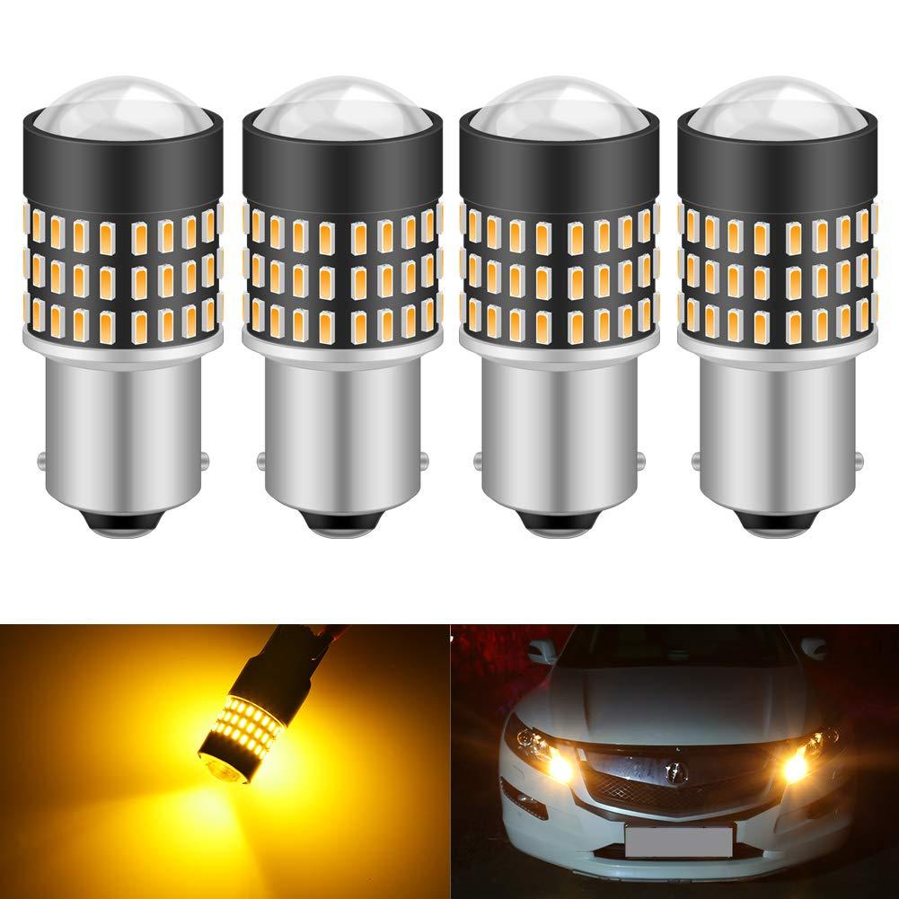 KATUR 1156 BA15S 7506 1073 1095 1141 Led Light Bulb Super Bright 900 Lumens High Power 3014 78SMD Lens LED Bulbs for Brake Turn Signal Tail Backup Reverse Brake Light Lamp,Amber(Pack of 4)