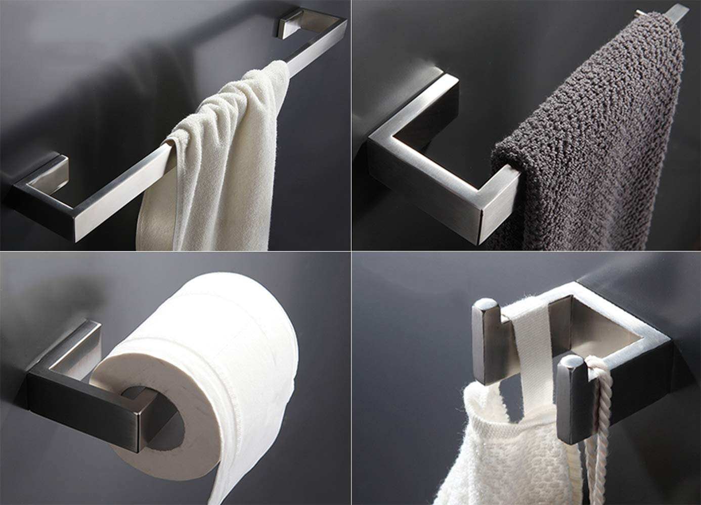 Z MAYABBO Towel Bar Set, 4Pcs Bathroom Hardware Accessory Set Brushed Nickel, SUS304 Stainless Steel Bath Hardware Set, Towel Rod with Toilet Paper Holder, Towel Bar and Double Robe Hook.