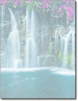 Waterfall Stationery Paper - 80 Sheets - Peaceful Nature & Floral Letterhead
