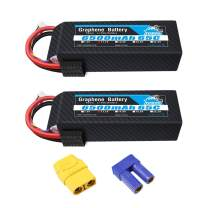 YOWOO 2 Packs 11.1V 6500mAh 65C 3S RC Lipo Battery with Traxxas and XT90 / EC5 Connector Graphene Battery for RC Plane DJI Quadcopter Airplane Quadcopter Helicopter Car Truck Boat (Short)
