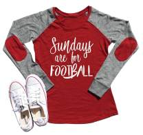Anbech Sundays are for Football Patch T-Shirt Raglan Long Sleeve Super Bowl 2019 Daily Tops
