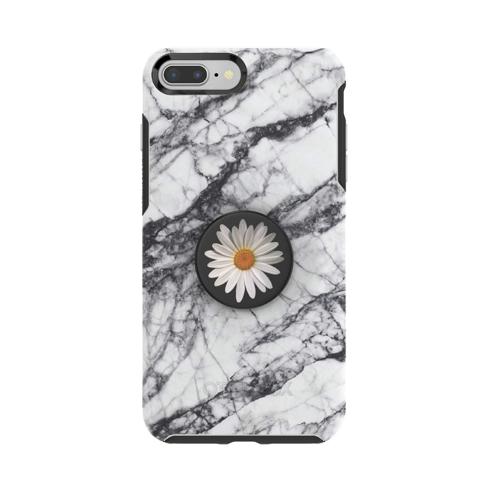 Otter + Pop for iPhone 7+ and 8+: OtterBox Symmetry Series Case with PopSockets Swappable PopTop - White Marble and White Daisy