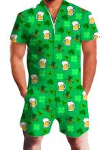 uideazone Men Romper 3D Printed Zipper Jumpsuit Short Sleeve One Piece Casual Overalls Outfits