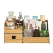 REARAND DIY Creative Multifunction Wooden Cosmetics Storage Box Makeup Organizer Desktop Drawer Box Bamboo Desk Tidy
