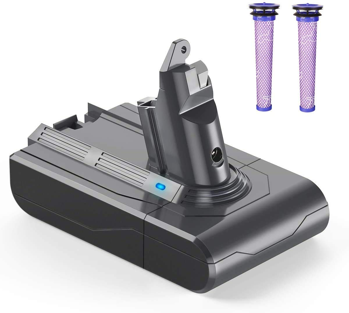 YABER Dyson V6 Battery Replacement 4000mAh for Dyson V6 DC59 DC58 DC61 DC62 Animal DC72 DC74 595 650 770 880 Handheld Vacuum Cleaner with 2 Pack Imported Pre-Filters